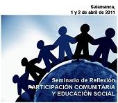 """Cartel del seminario de reflexión: """"Participación comunitaria y educación social"""""""