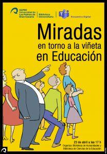 """Cartel del encuentro digital """"Miradas en torno a la viñeta en Educación"""""""